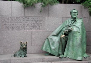 FDR memorial in Washington with dog Fala